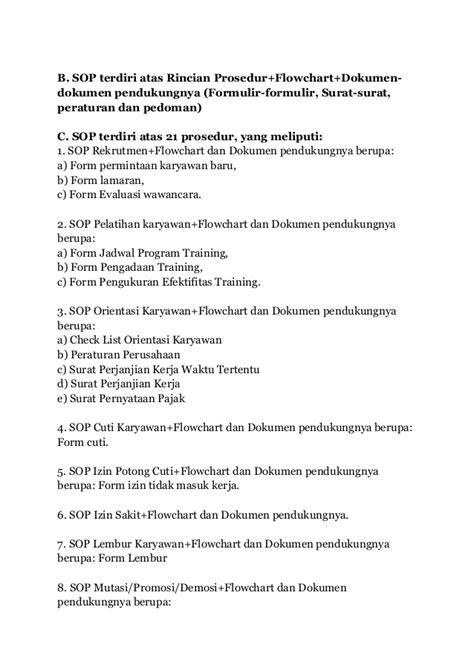 Buku Sop Hrd Perusahaan Flowchart Formulir standar operasional prosedur sop hrd