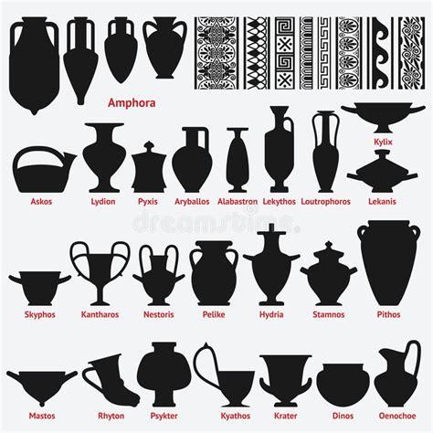 antichi vasi greci insieme dei vasi greci antichi e dei modelli senza