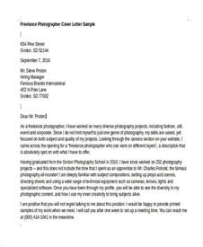 photography cover letter 8 photographer cover letter templates free sle