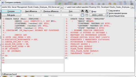 sql server compare tables comparing quot create table quot between oracle and microsoft