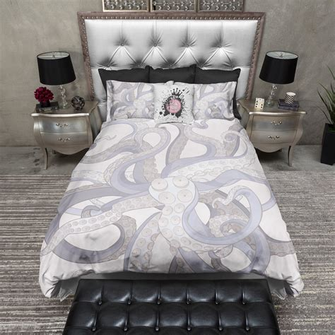 lavender octopus tentacle duvet bedding sets ink and rags