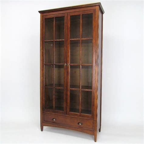 Bookcase Glass Doors by Barrister Bookcase With Glass Door In Brown 9124