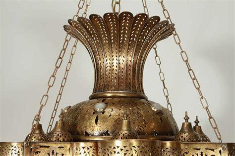 Large Moroccan Chandelier Large Moroccan Moorish Brass Chandelier At 1stdibs