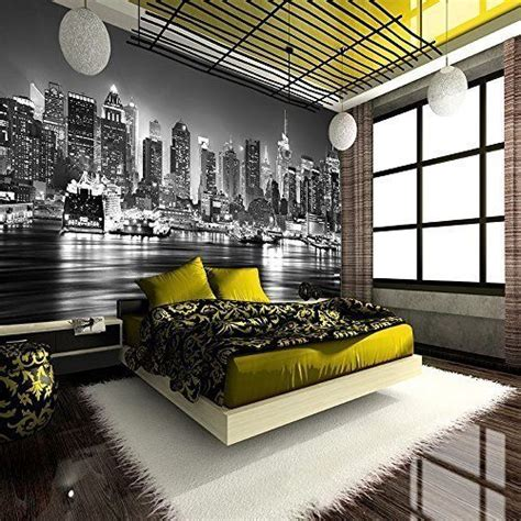 skyline wallpaper bedroom new york city at night skyline view black white