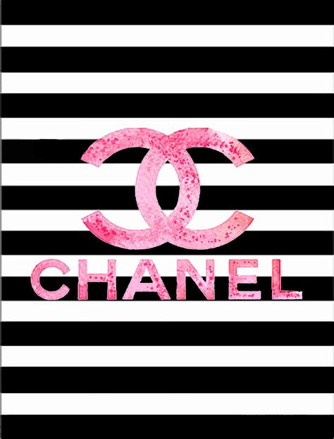 chanel pink logo on stripes digital by