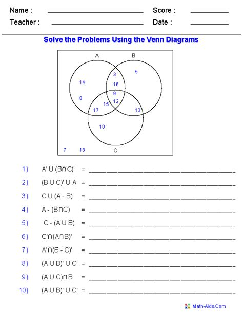 venn diagram maths worksheet venn diagram worksheets set notation problems using