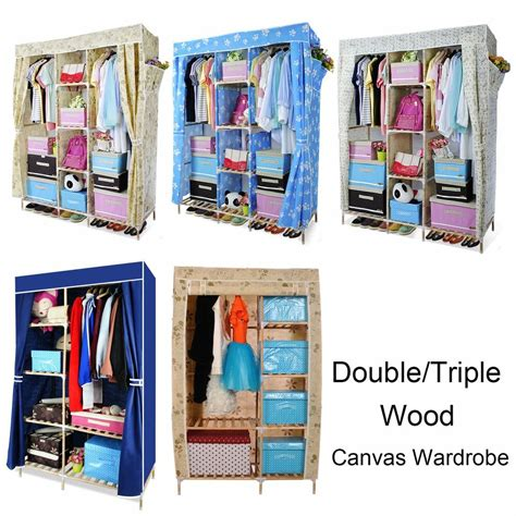 canvas and wood wardrobe wood canvas clothes storage wardrobe