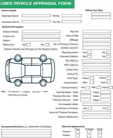 sample auto appraisal forms 7 free documents in word pdf