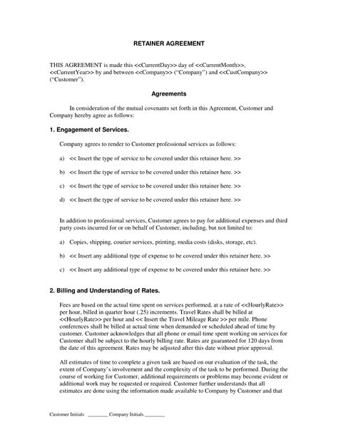 retainer fee agreement template retainer agreement sle free post nuptial agreement