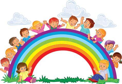 clipart arcobaleno bambini piccoli ed arcobaleno spensierati illustrazione