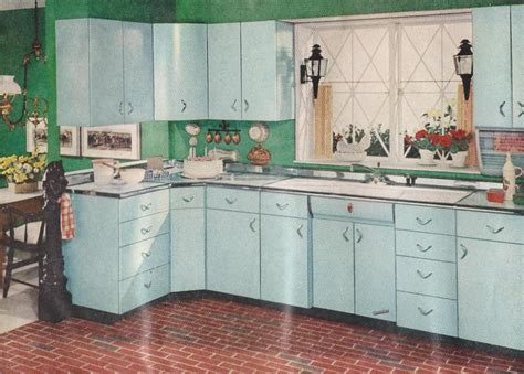 1950s Kitchen Furniture Better Homes Gardens 1950s Kitchen With Blue Cabinets And Brick Floors Blast From The Past