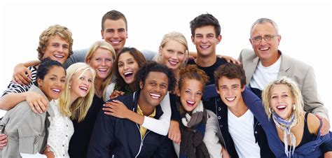 happy friends of smiling friends against white background