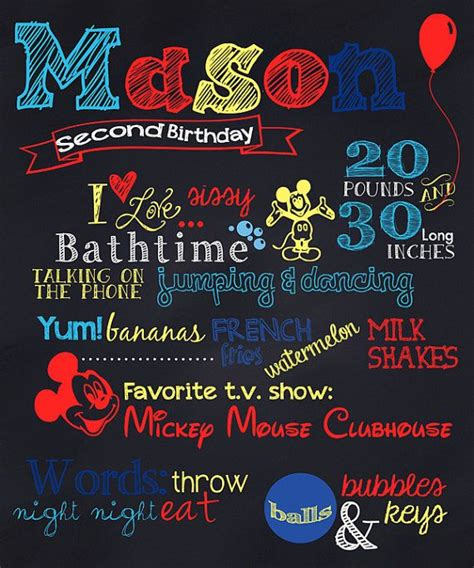 mickey or minnie mouse birthday chalkboard poster
