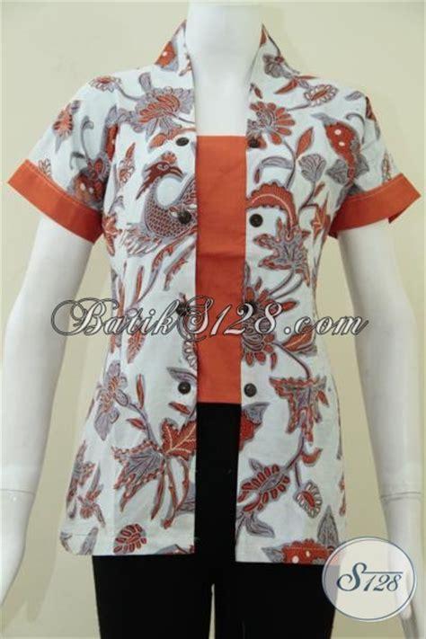 baju seragam kantor wanita lengan pendek batik motif warna orange bls1022bt m toko batik