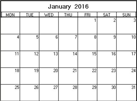 printable monthly calendar january 2016 january 2016 printable calendar