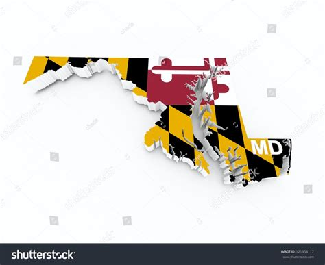 maryland flag map maryland state flag on 3d map stock photo 121954117