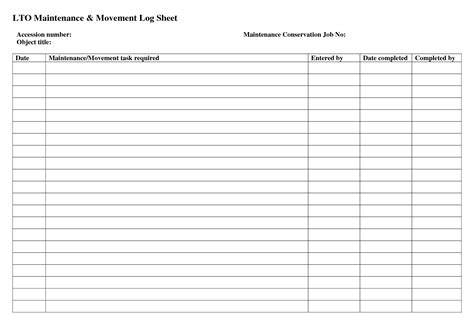 Maintenance Sheet Template best photos of facilities preventive maintenance log
