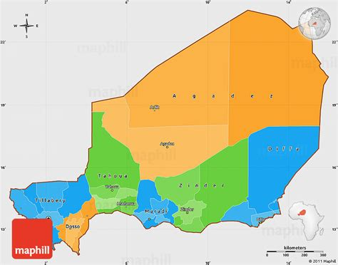 political map of niger political simple map of niger single color outside