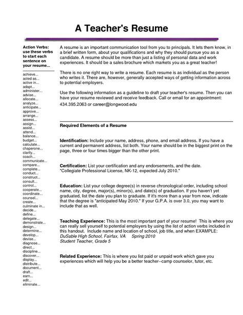 substitute resume resume resume template