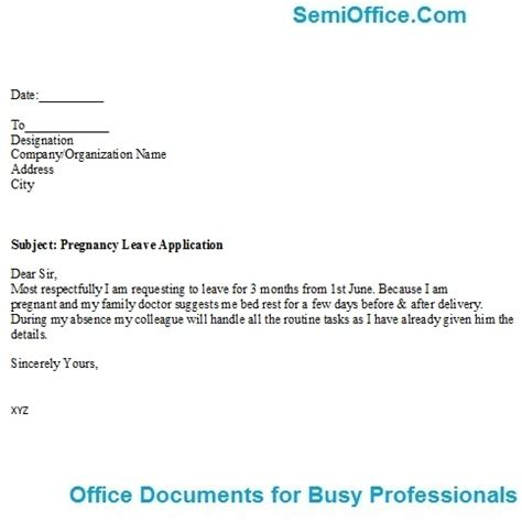 Application Letter Format For Leave In Office Due To Maternity Leave Application Format For Office