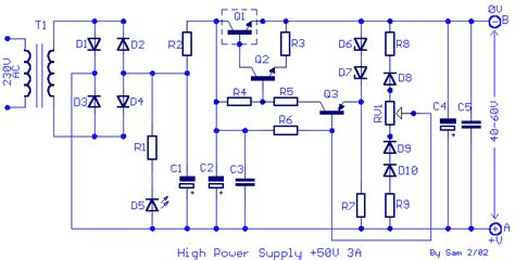 schematic diagram of regulated power supply 50v dc 3a stabilized and regulated power supply power