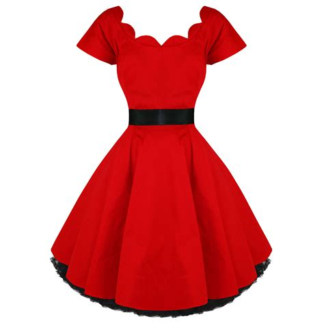 fifties swing dress hearts roses london red vintage 50s party prom swing