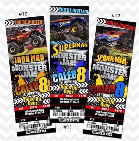 monster jam truck tickets monster jam invitation monster truck birthday party tickets