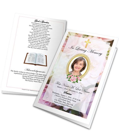 Free Memorial Card Template With Messianic Symbols Poems by Funeral Program Clipart Funeral Programs Graphics Images