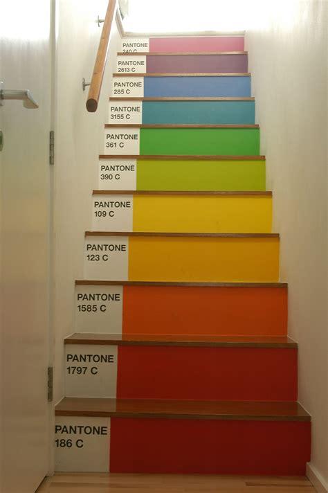 rainbow pantone stairs   home   painted