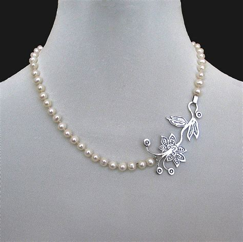 Romantic Contemporary jewelry. Designer necklace of pearls