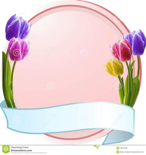 Kr Bordir Tulip Blue 1 tulips on a pink border with blue banner stock illustration image 19644336