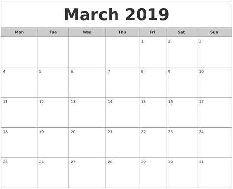printable calendar april 2018 to march 2019 march 2019 free monthly calendar
