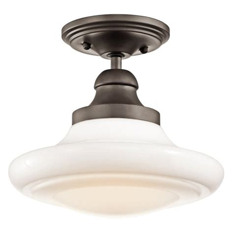 Schoolhouse Ceiling Lights Schoolhouse Ceiling Light Bronze Fitting With Opal Glass Shade