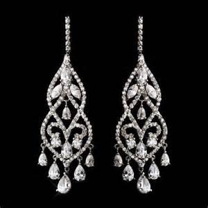 Cz Chandelier Earrings Dramatic Silver Plated Cubic Zirconia Cz Chandelier Bridal