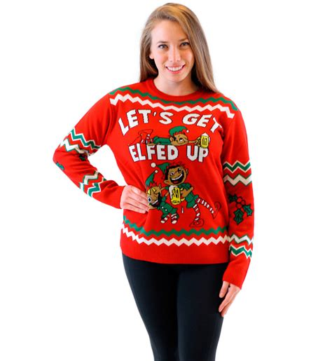 best play to get ugly christmas sweaters in az let s get elfed up drunken elves sweater
