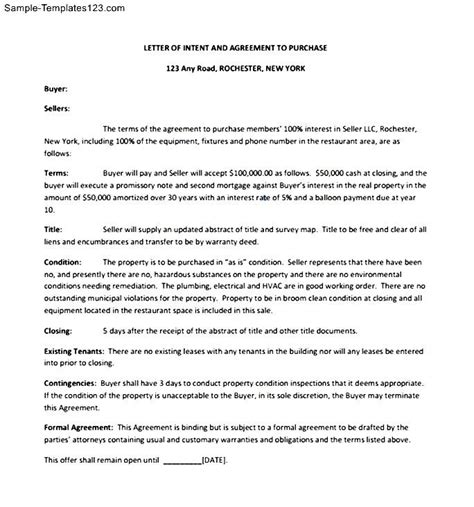 Letter Of Intent For Business Supplier Letter Of Intent To Purchase Equipment Sle Templates