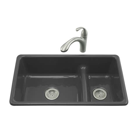 shop kohler iron tones 18 75 in x 33 in black black