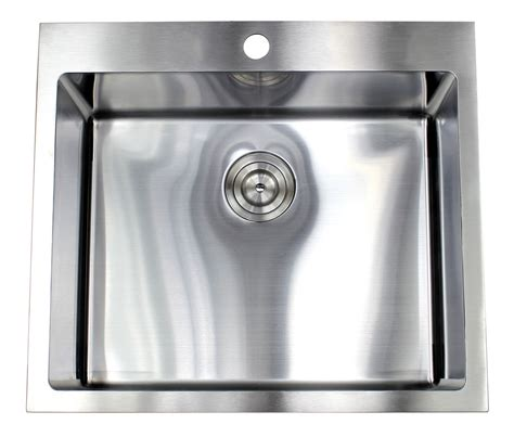 25 inch stainless steel sink 25 inch top mount drop in stainless steel single bowl