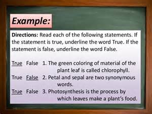 true false and matching type test items