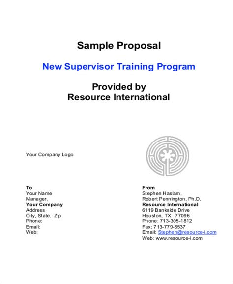 training proposal letter 10 sle letters sle templates