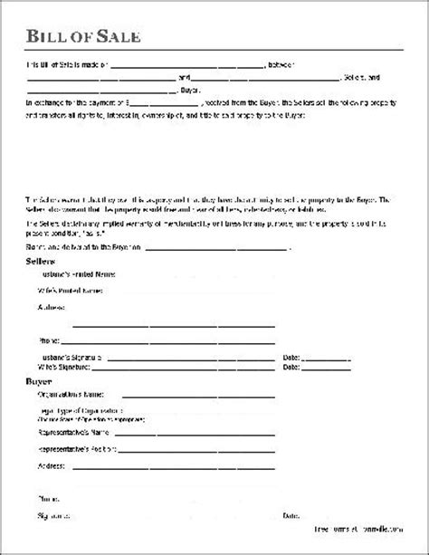 printable sample bill of sale form form real estate