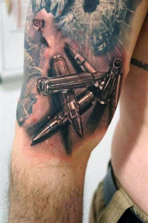 realistic tattoos for men 60 bullet tattoos for a of design ideas