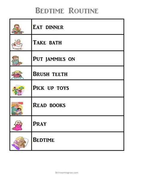 printable toddler bedtime routine chart 8 best images of blank night routine printables morning