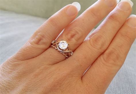 two toned rope white sapphire engagement ring vintage