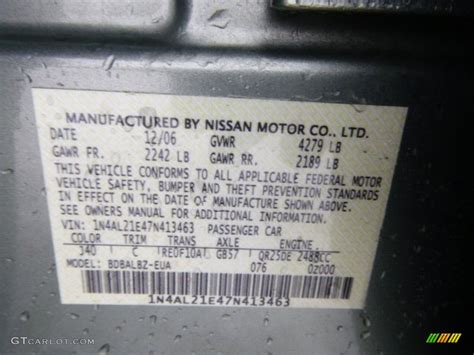 2007 nissan altima 2 5 s color code photos gtcarlot