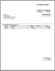 free rental invoice template late rent invoice