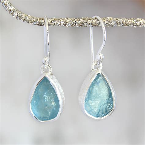 Aquamarine Jewelry by Designer Aquamarine Gemstone Silver Earrings
