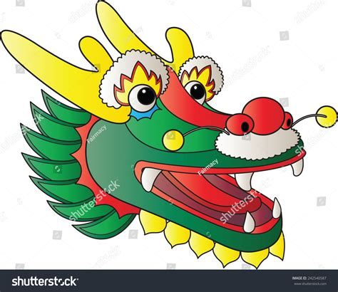cartoon chinese boat chinese dragon head cartoon stock vector 242540587