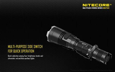 Nitecore Mh27uv Ultraviolet Senter Led Cree Xp L Hi V3 1000 Lumens nitecore multi task hybrid mh27uv cree xp l hi v3 1000 lumens ultra violet rechargeable