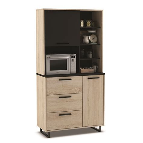 Swift Microwave Storage Cabinet Tall In Gross Oak And Black